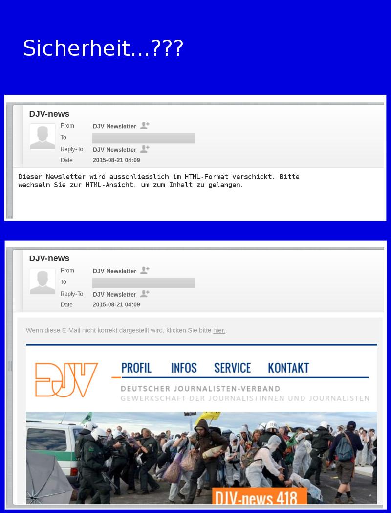 DJV-Newsletter: 'Dieser Newsletter wird ausschliesslich im HTML-Format verschickt.'